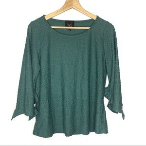Anthropologie W5 dot texture teal green blouse